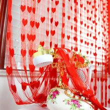 Brand New 100cm * 200cm New Fashion koreański Cute Heart Line zasłona sznurkowa na drzwi z frędzlami okno kurtyna dzieląca pokój Valance(China)