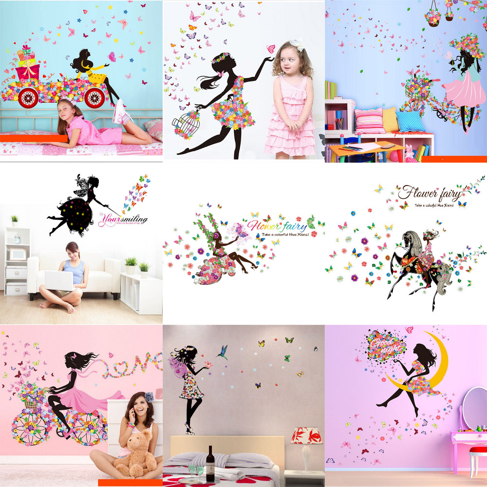 Latest Beautiful Girl Butterfly Flowers Art Wall Stickers Home Decor DIY Personality Mural Child Rooms Decoration Wallpaper(China (Mainland))