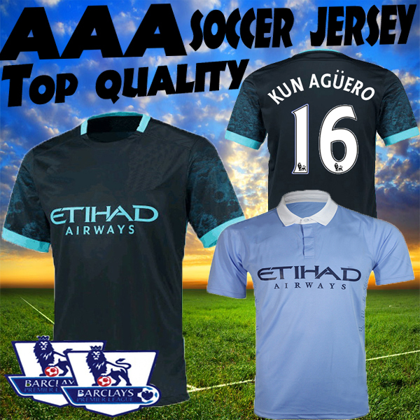 City soccer jersey 15 16 Away navy blue Home blue WILFRIED KUN AGUERO SILVA 2015 2016 azul real azul claro azul claro Shirts(China (Mainland))