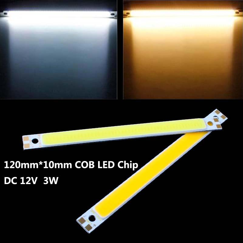 High Quality LED COB Light Strip 12V-13V 3W 120mm*10mm DIY LED COB For Car Home Outdoor Lamp Light Source 2pcs/lot Free Shipping(China (Mainland))