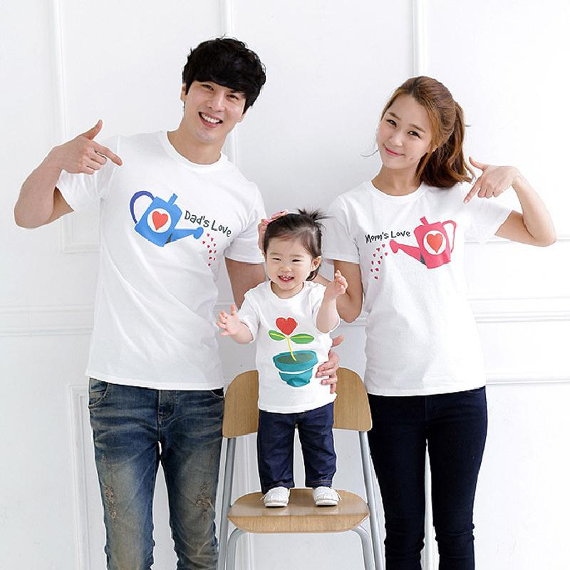 2016 Popular My Family Clothing Dad and Mothers Love 100% Cotton Summer Family T-Shirt  Parent-Child Three Pieces<br><br>Aliexpress