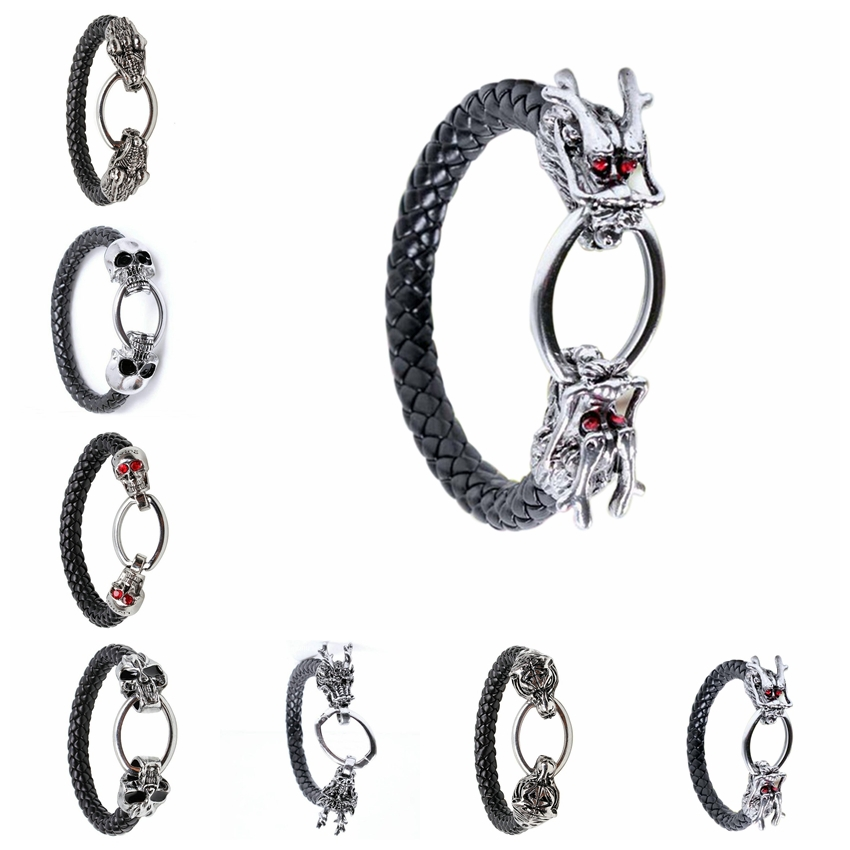 Fashion Punk Bracelet Oval Buckle Dual Red Eye Dragons Round Leather Bracelet Men Bracelet