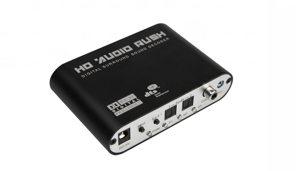 Hot sales 5.1 Decoder audio SPDIF optical coaxial support Dobly DTS AC3,5.1 ch surround sound decoder,digital to alanog signal(China (Mainland))