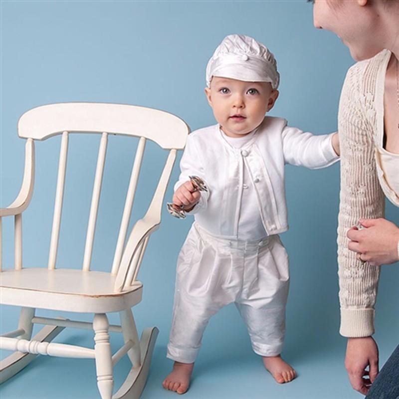 Скидки на 2017 New Baby Мальчики Крещение Платья Белого Цвета День Рождения Ребенка 100% Хлопчатобумажной Пряжи Supima Хлопка в Белом Платье Мальчиков Крещение Платья