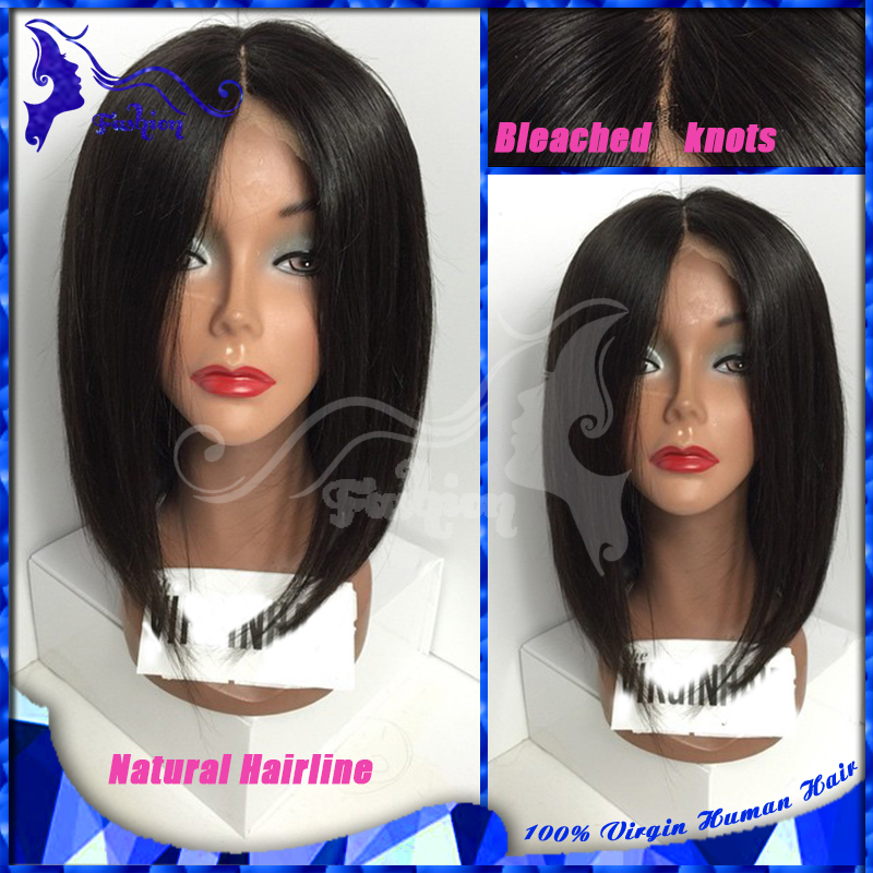 Short Bob Silk Base Wigs Silky Straight Silk Top Glueless Full Lace Wigs Unprocessed Virgin Hair Silk Lace Wigs For Black Women(China (Mainland))