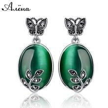 Big Green Jade Agate Earrings Natural Stone Vintage Retro Black Rhinestone Zircon Butterfly Leaf Piedras Verdes Dangle Earrings(China (Mainland))