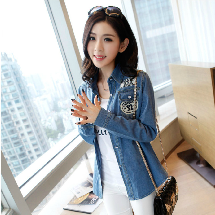 New Arrival Womens Spring & Summer casual plus size denim blouses Korean Style fashion brand tops for women female jeans shirts(China (Mainland))