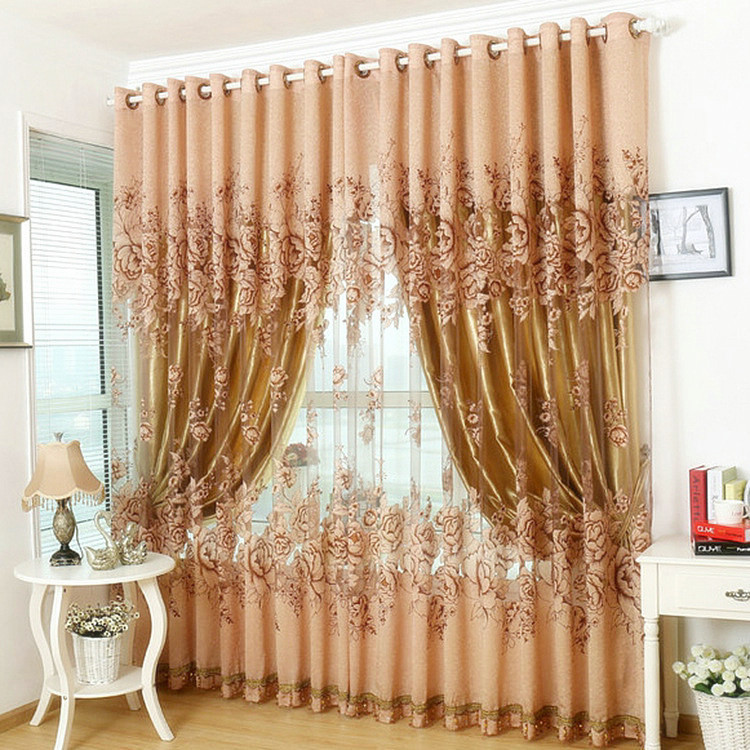 Window Curtain For Living Room/Bedrooms /Hotel 100% Blackout Finished Luxury Curtains+Tulle Beads Purple/Brown/Red FreeShipping(China (Mainland))