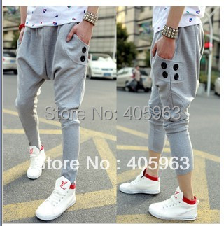 Mens Joggers harem pants baggy sports gym  joggers pants sweatpants calca saruel masculina