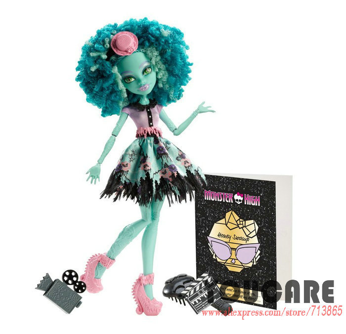 Genuine Original Monster Hight Dolls Monster High Frights, Camera, Action! Honey Swamp Doll Free Shipping Best Gift for girl(China (Mainland))