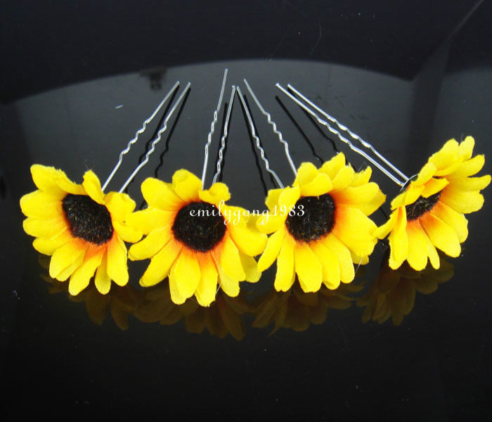 12Pcs Wedding Bridal Beautiful Sunflower Hair Pin Hair Accessory A-2(China (Mainland))