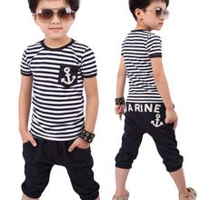 toddler boys clothing New Summer Children Clothing Boys Navy Striped T-shirt And Pants Suits lowest price boys clothes(China (Mainland))