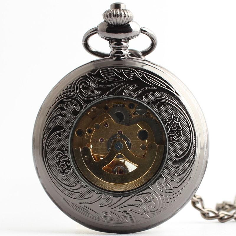 Высокого класса автоматические механические карманные часы Г-Жа ретро моды раскладушка мультфильм мужчина студент стол стали вольфрама резные полые