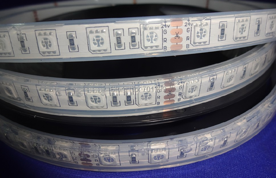 DC24V LED strip 5050 SMD flexible light 60LED/m,5m 300LED,White,warm,Blue,Green,Red,Yellow;RGB;with epoxy resin filled;IP68(China (Mainland))