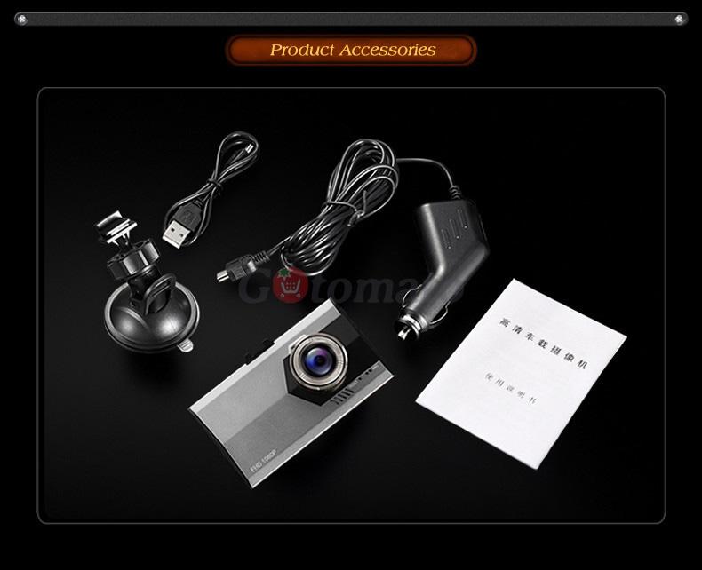 """Купить Gotomato Ультра тонкий 3.0 """"140 Градусов Full HD 1080 P Автомобильный ВИДЕОРЕГИСТРАТОР Видеокамера Даш Cam Motion Detection G-сенсор Автомобильный Видеорегистратор"""