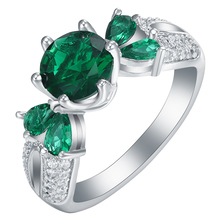 Buy classical silver plated engagement rings us 7 8 9 New vintage green cz zircon Jewelry Wedding gift luxury promise ring women for $2.89 in AliExpress store