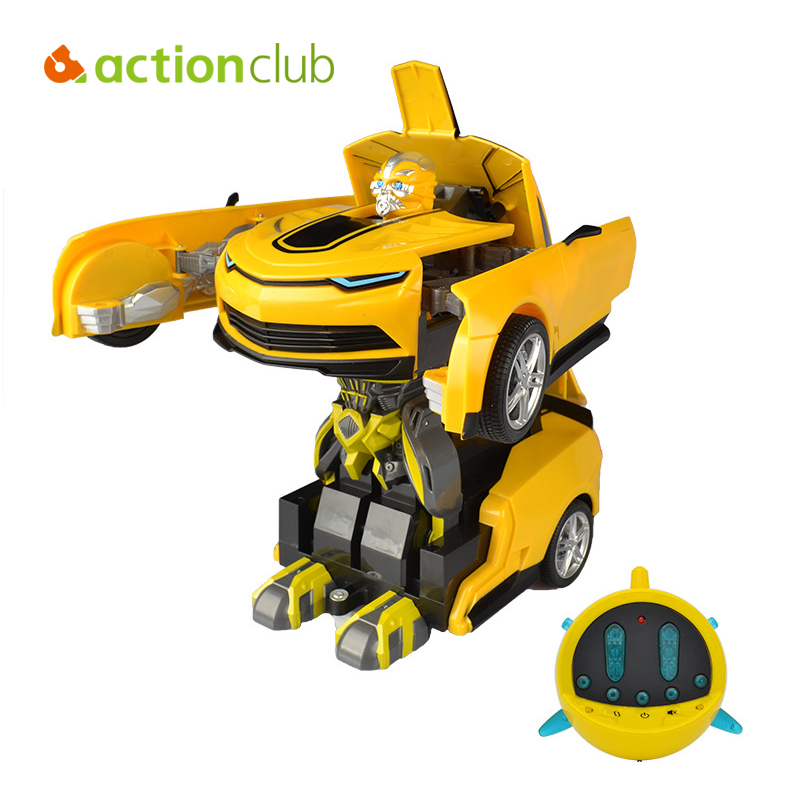 New Remote Control Car Robot Deformation Robot Children Electric Toys One Key Deform Transformation Cool Dynamic Robot Toy(China (Mainland))