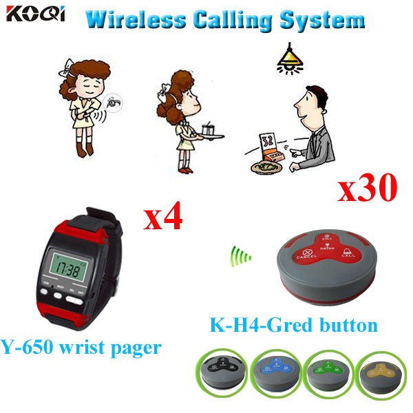 Restaurant Waiter Pager System Popular In Restaurant Smart 4pcs Watch Pager Y-650 And 30pcs Call Button K-H4-GRed(China (Mainland))