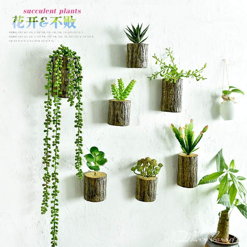 Wall Sconces For Greenery : New Arrival! 3D Wall Tree Stump Plants Imitation Flower Pots Artificial Wall Decor Plants Home ...