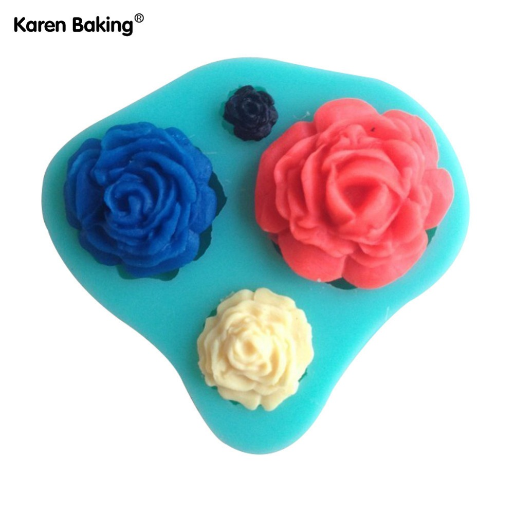 3D Silicone Mold Rose Shape Mould For Soap,Candy,Chocolate,Ice,Cake C016(China (Mainland))