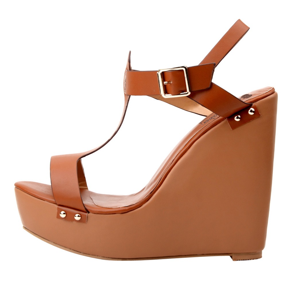 Popular Summer Women Sandals Fashion T-Strap Sandals Open Toe Wedges Brown High-quality Customizable Shoes Woman Plus Size 4-15 <br><br>Aliexpress