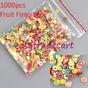 New 1000pcs/pack Nail Art 3D Fruit Fimo Slices Polymer Clay DIY Slice Decoration Nail Sticker Free Shipping(China (Mainland))