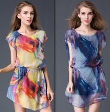 Summer 2016 Women's Large Size Short Dress,elegant Temperament Short Sleeved Round Collar Ladies' Fashion Loose Leisure Dress
