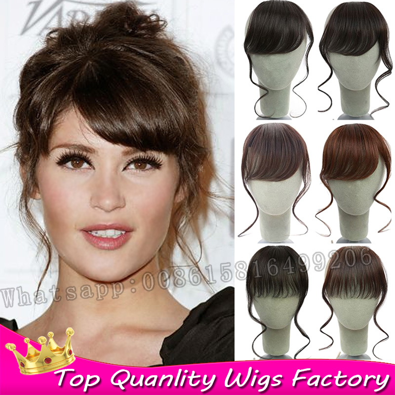 New Clip in bangs fringe hair extension long Curly wave clip in bangs frange cheveux fake front bangs hairpiece Free shipping(China (Mainland))