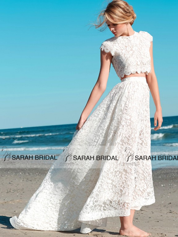 Elegant 2 Piece Wedding Dresses : High quality white lace beach wedding dresses elegant