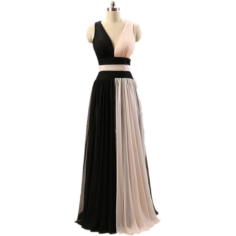 New Stock A-line V-neck Open Back Two Tones Formal Evening Dress Fashion Chiffon Dress Gown Free Shipping(China (Mainland))