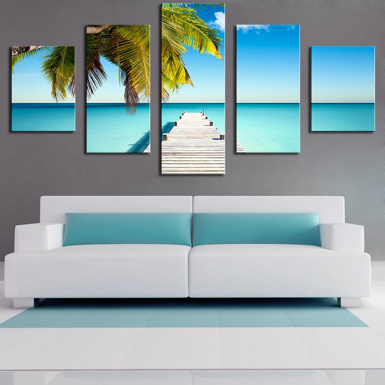 store product  Panel the palm pontoon Modern Home Wall Decor Canvas Picture Art Print WALL Painting Set