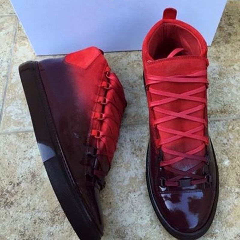 Arena Ombre Effect Leather Red High-Top Trainers Sport Gladiator Breathable Lace Up Fashion Mens Casual Shoes yeezys 350 Shoes