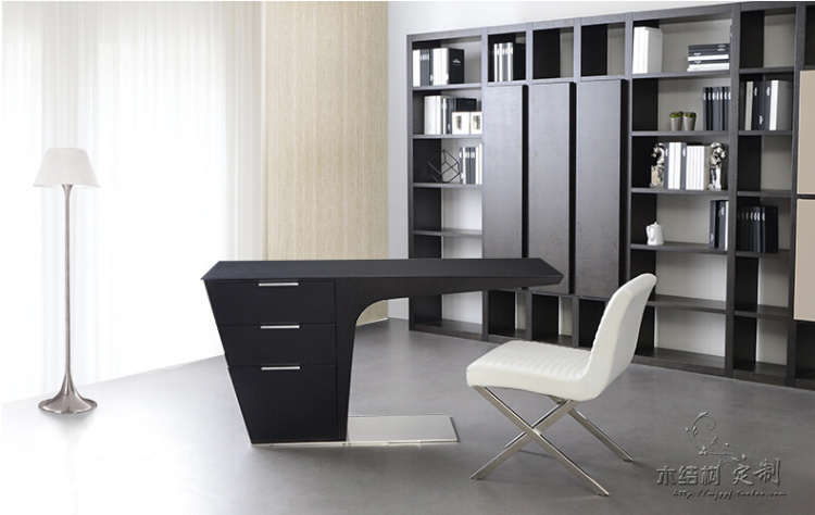 Elegant L Shape Leather Modern Executive Desk Office Table Design(China (Mainland))
