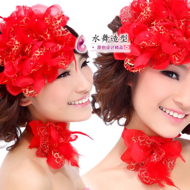 Fashion fedoras wrist length flower neck flower the bride red flower feather wedding dress accessories the wedding hair