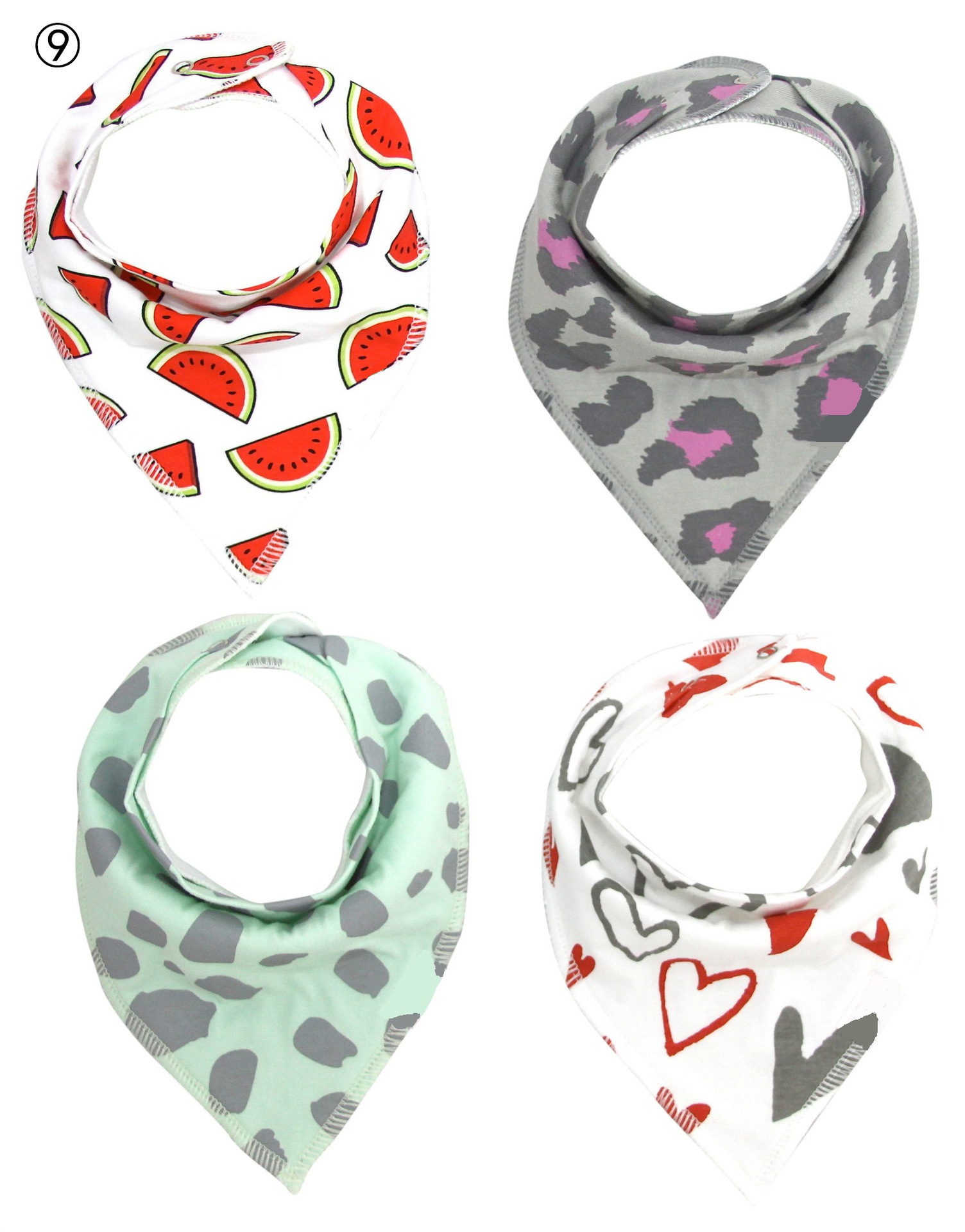 4PCS/lot Baby Infant Accessories Bibs Burp Cloths Waterproof Cotton Printing for Children Baberos Bandana Triangular Scarf WD002