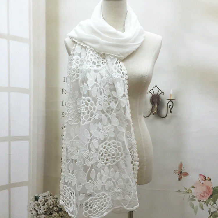 MENG 2016 Female Spring Summer Cute Embroidered Pashmina Fashion Cotton Rose Lace Hollow Scarf Women Shawls and Scarves WJ160611(China (Mainland))