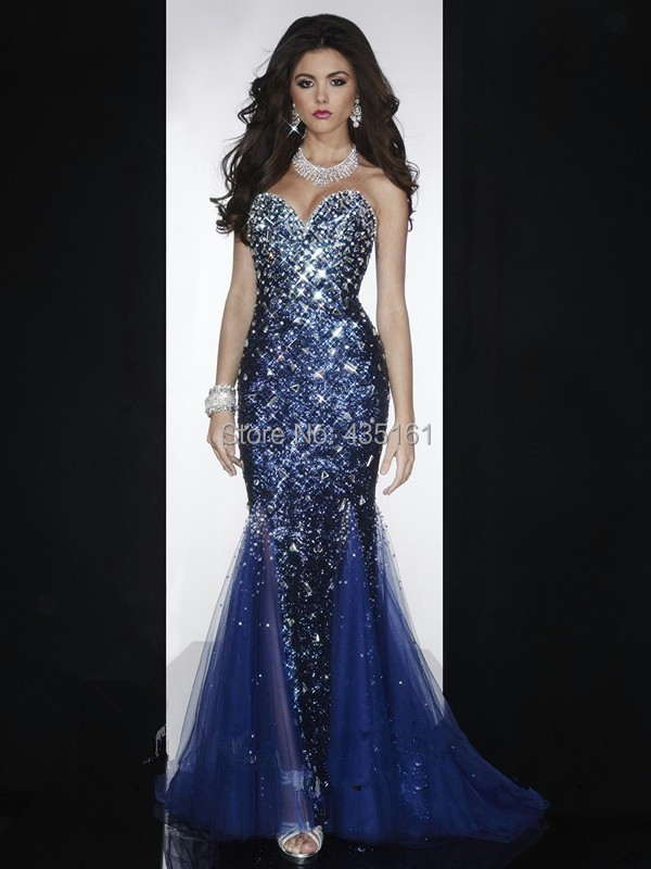 Dazzling Crystal Beaded Sequined Sweetheart Mermaid Navy Blue Prom Dress 2015 Pageant Floor Length Evening - Cherish Bride store