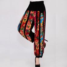 National trend Chinese style plus size cotton linen pants for women high waist capris loose elastic waist female trouser dms0601