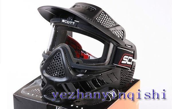 Tactical Full Face Airsoft Paintball Goggle Clear Lens Mask BK Type II -Free shipping(China (Mainland))