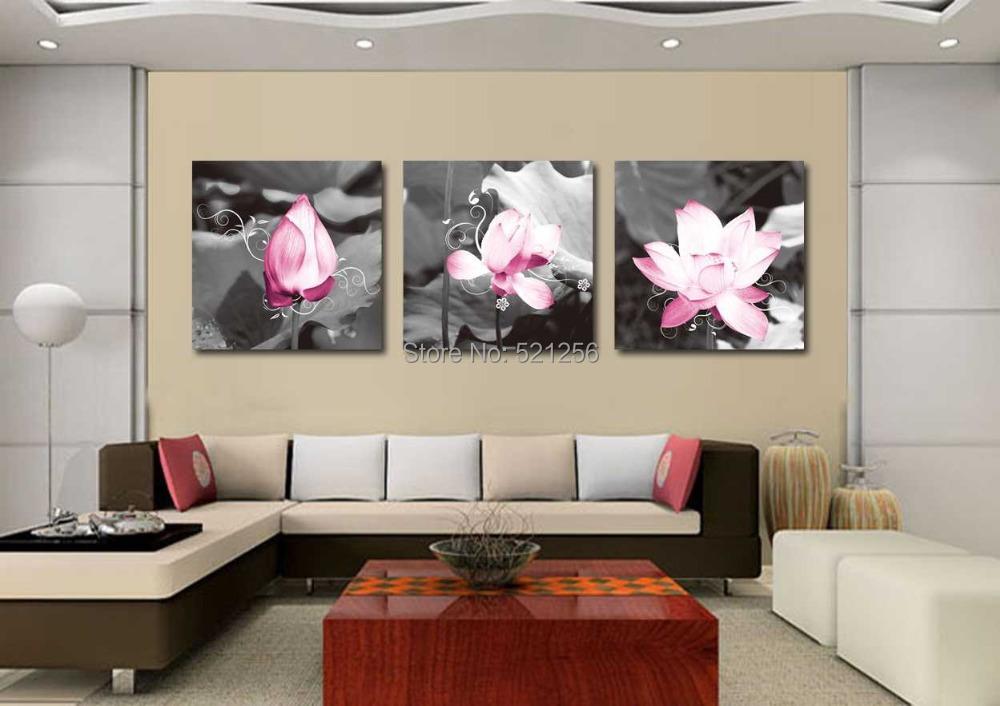 Cadre Mural Moderne Noir De Photos : Blanc lotus huile promotion achetez des