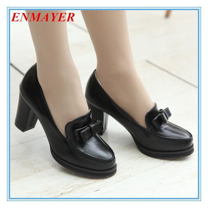 ENMAYER Round Toe Fashion heels shoes for women 2015 new shoes big size 34-47 high heels Platform pumps bow casual women pumps