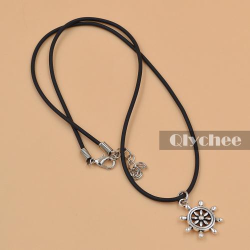 new fashion accessores jewlery handmade black leather cord choker necklace rudder shaped sliver pendant(China (Mainland))
