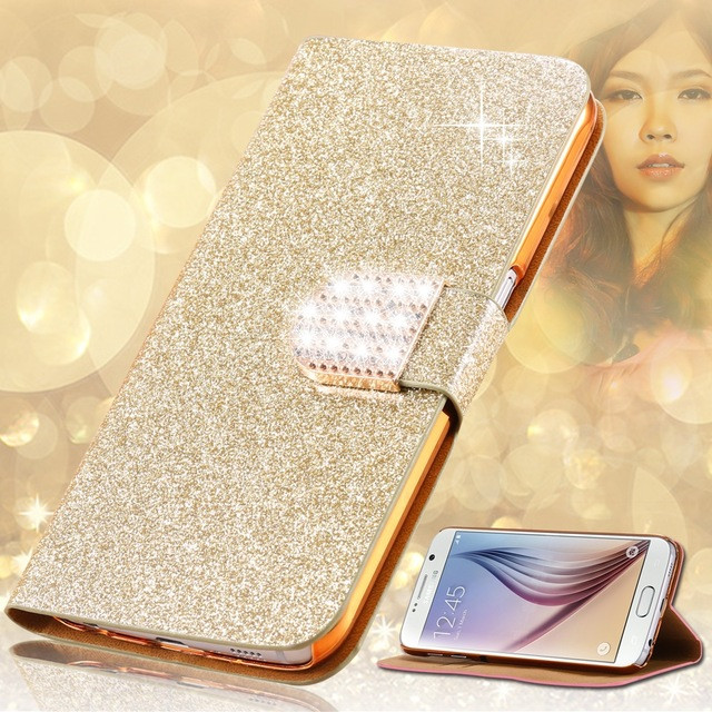 Luxury Glitter Diamond PU Leather Cell Phone Case For Samsung Galaxy Express 2 G3815 Win Pro G3812 G3818 Stand Wallet Cover(China (Mainland))