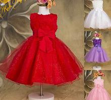 2-13 Yrs Baby Girls Pink Rose Flower Bow Chiffon Party Wedding Evening Tutu Princess Dress Little Toddler Kids Boutique Sundress(China (Mainland))