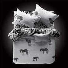 Czarny i biały pled 100% bawełna zestawy pościeli paskiem kołdra zestaw osłon pościel 3/4 sztuk nowa moda luksusowe łóżko arkusz(China)
