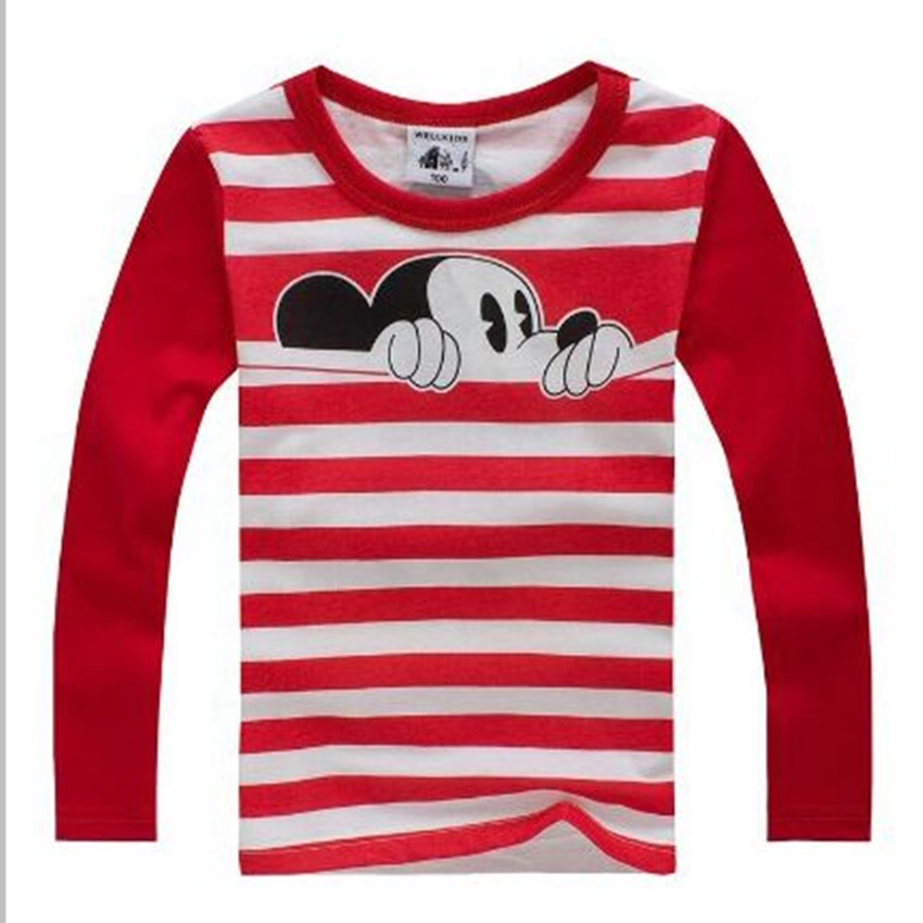 Гаджет  2015 New cotton material autumn boys girls T-shirt Children long sleeve striped clothes kids spring wear None Детские товары