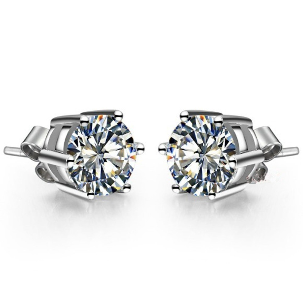 Gorgeous 0.5Ct/Piece Round Cut Synthetic Diamond Solid 18K White Gold Stud Earrings Engagement Wedding Jewelry for Women Bridal(China (Mainland))