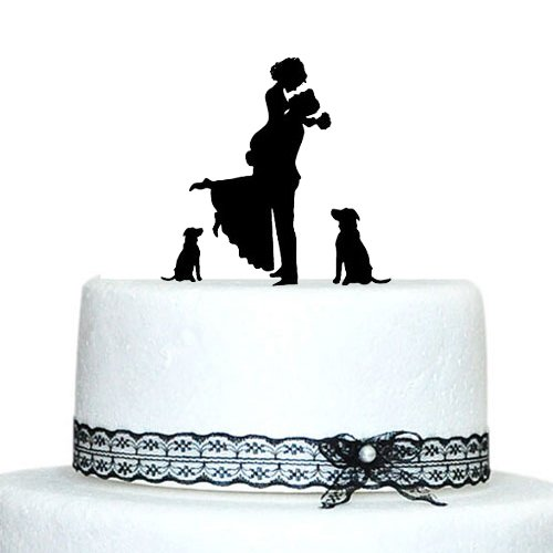 Personalized Custom Wedding Cake Topper Bride and Groom Silhouette with 2 Dog Wedding Cake Stand/Wedding Decoration Accessory(China (Mainland))