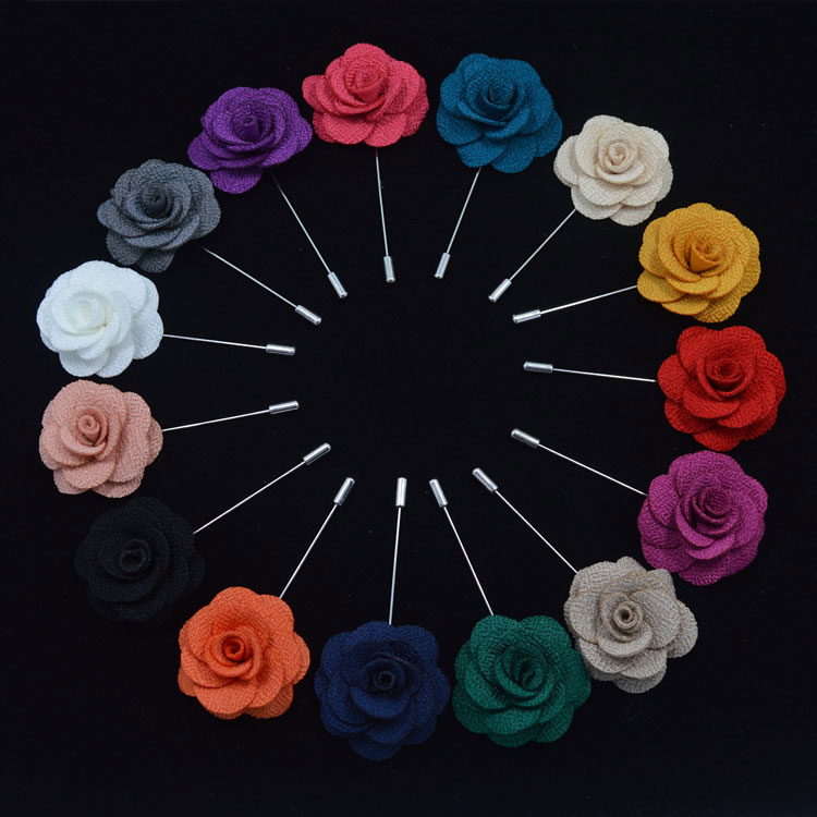 Wedding brooches for men lapel flower daisy handmade boutonniere sticks brooch pin men's suits clothing accessories Black red(China (Mainland))