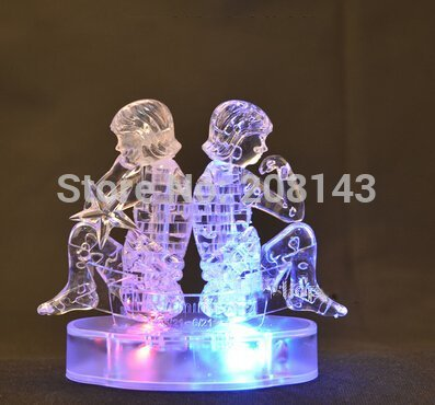 Horoscope Gemini 48 Pieces 3D Crystal Puzzle Transparent Flashing Puzzle Toy Hot Selling Children Gift(China (Mainland))
